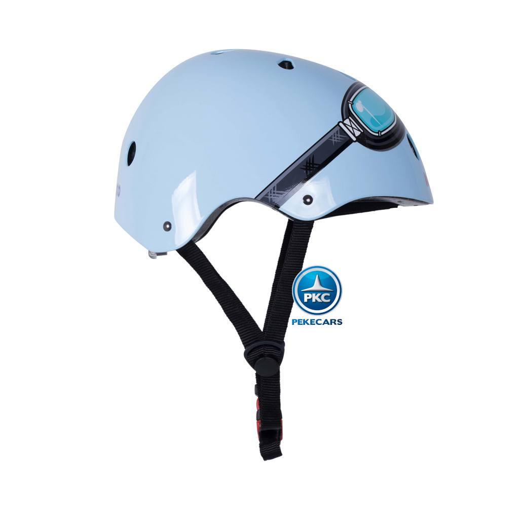 Casco para niños Retro Azul Pequeño con Gafas Pintadas
