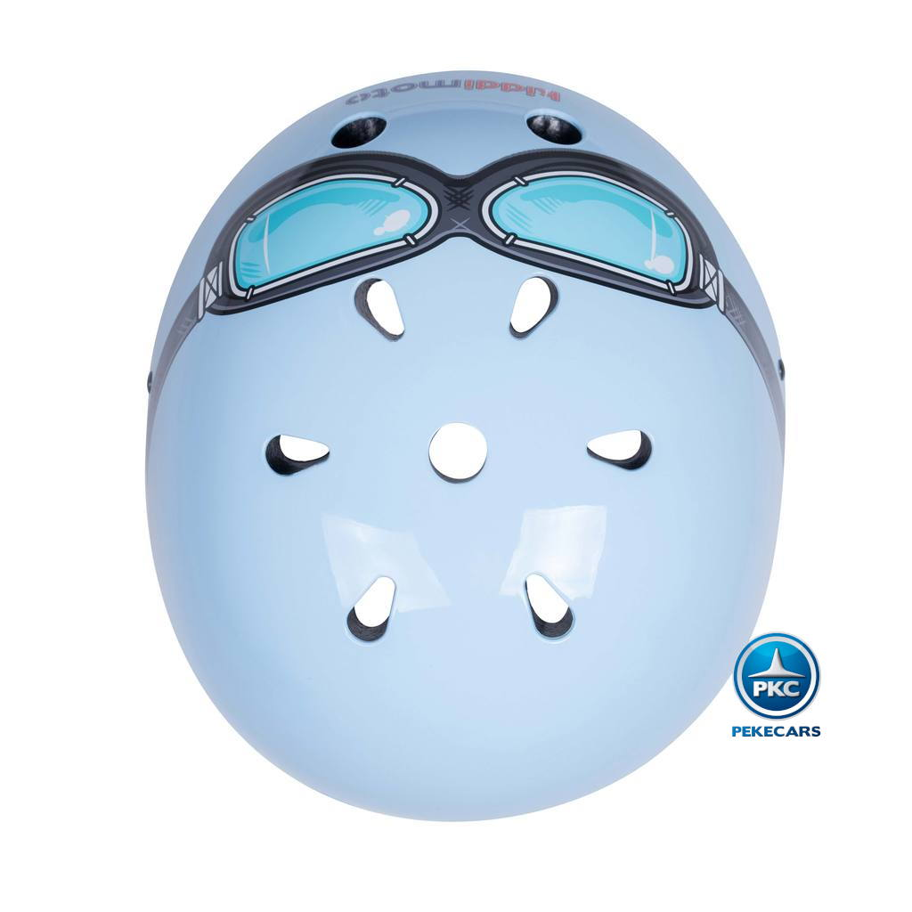 Casco para niños Retro Azul Pequeño con Gafas Pintadas agujeros de ventilacion