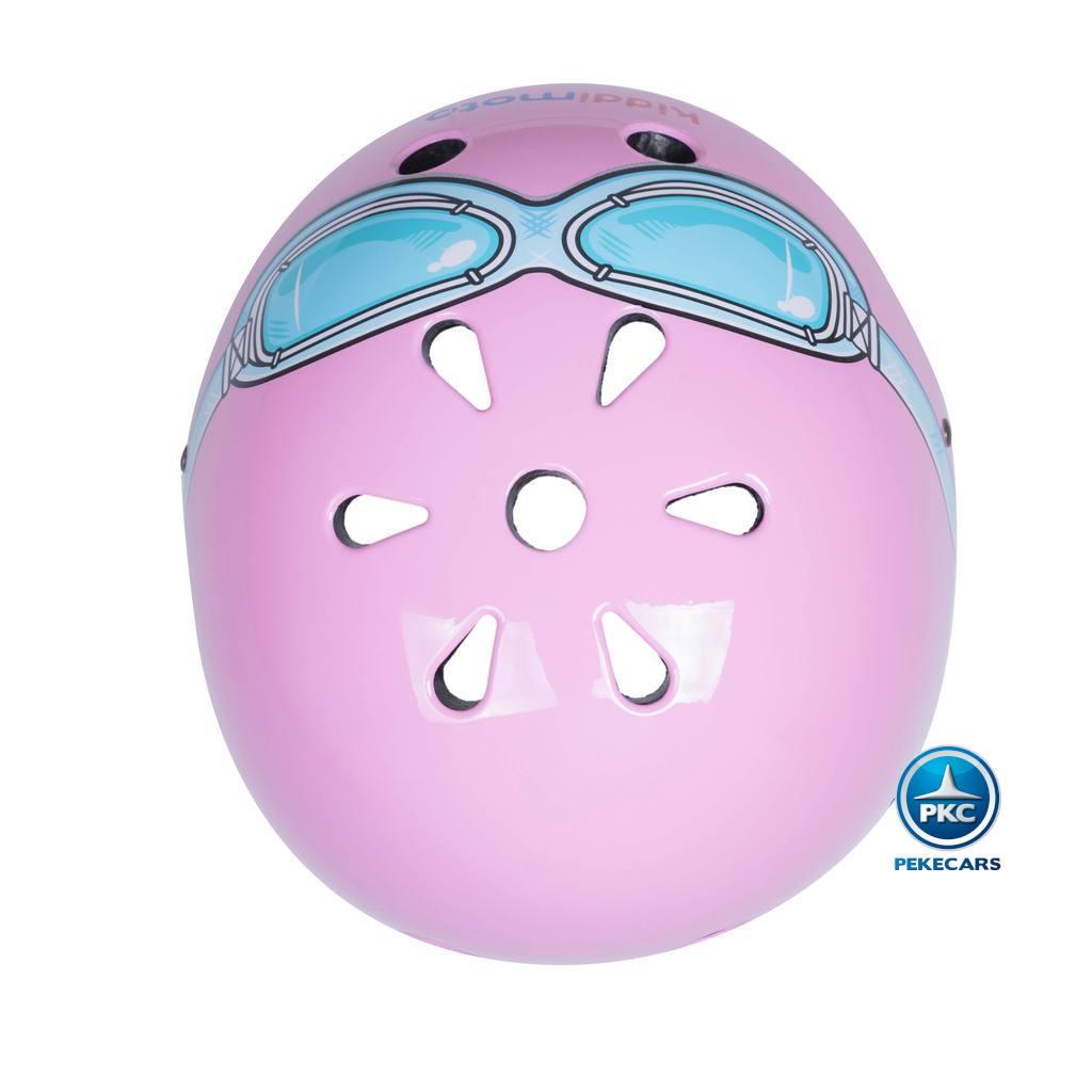Casco para niños Retro Rosa Pequeña con Gafas Pintadas agujeros de ventilacion