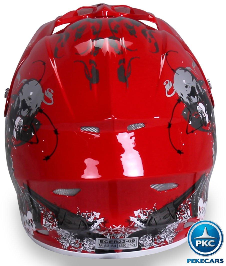 Casco Cross Helm Rojo Pekecars