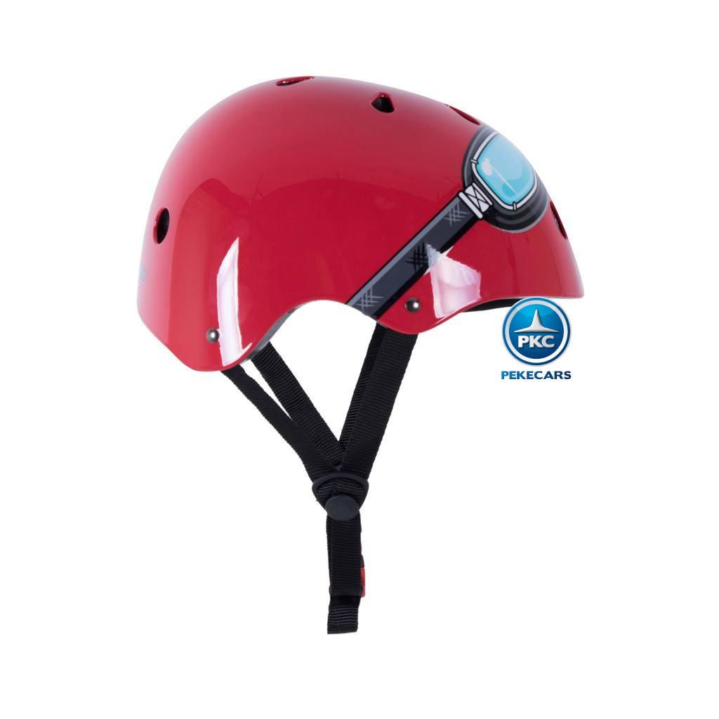 Casco para niños Retro Rojo Mediano con Gafas Pintadas correa regulable