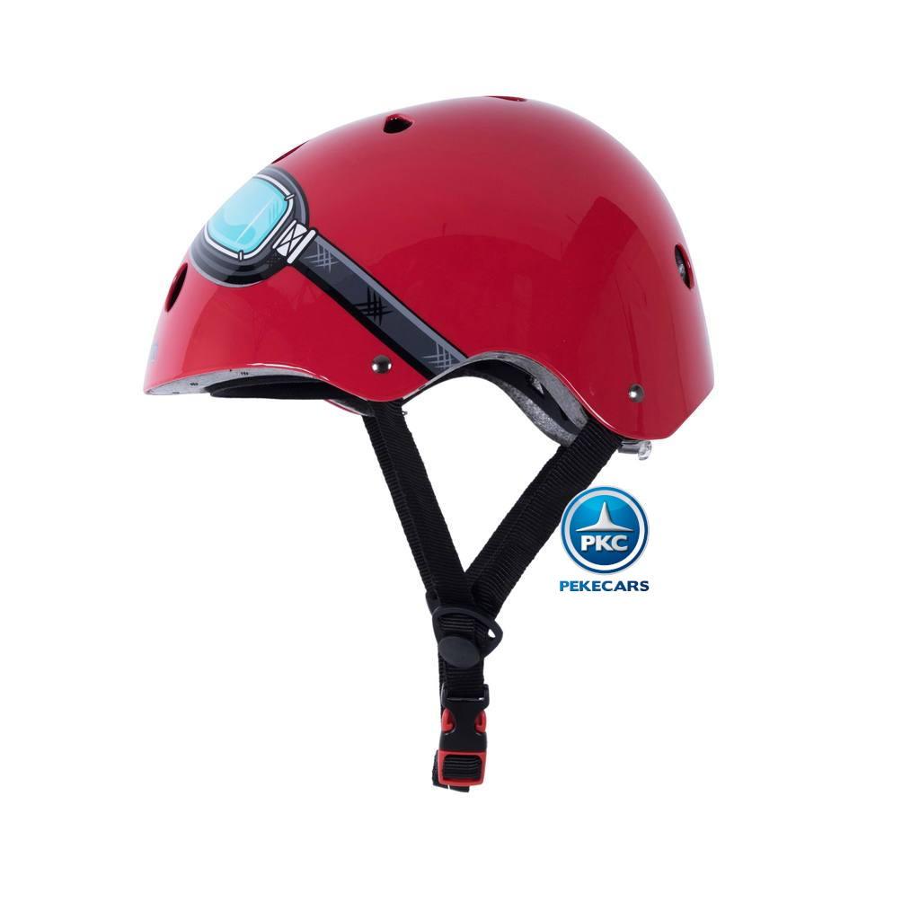 Casco para niños Retro Rojo Mediano con Gafas Pintadas interior acolchado