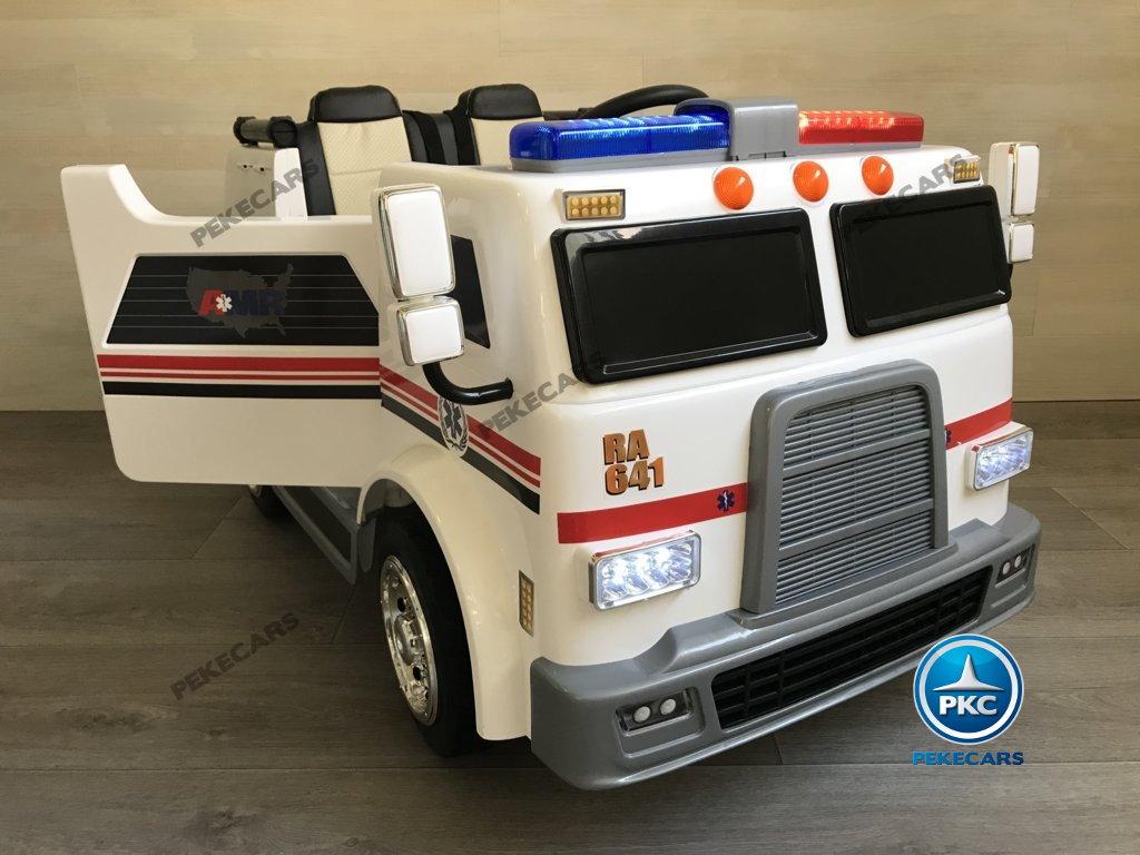 Ambulancia electrica infantil 2 plazas vista lateral