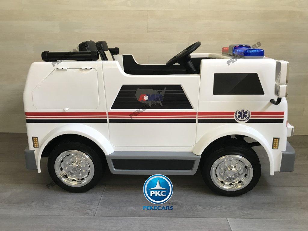Ambulancia electrica para niños 2 plazas visto de lado