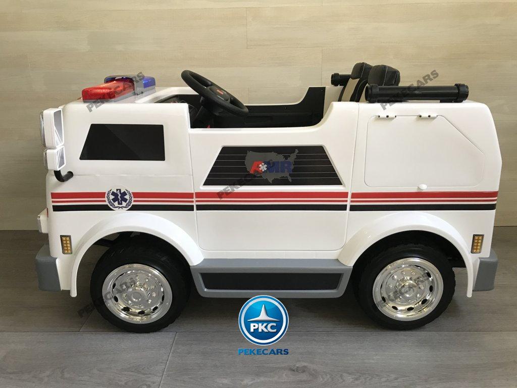 Ambulancia electrica para niños 2 plazas con amplio maletero