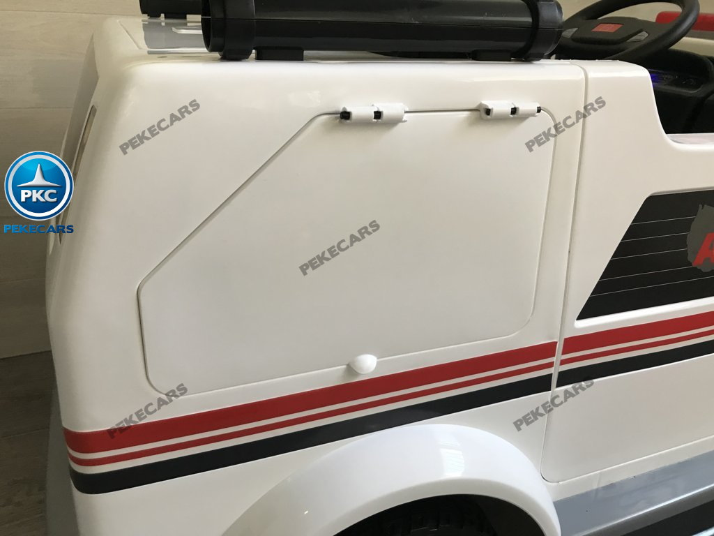 Ambulancia electrica para niños 2 plazas maletero con cierre