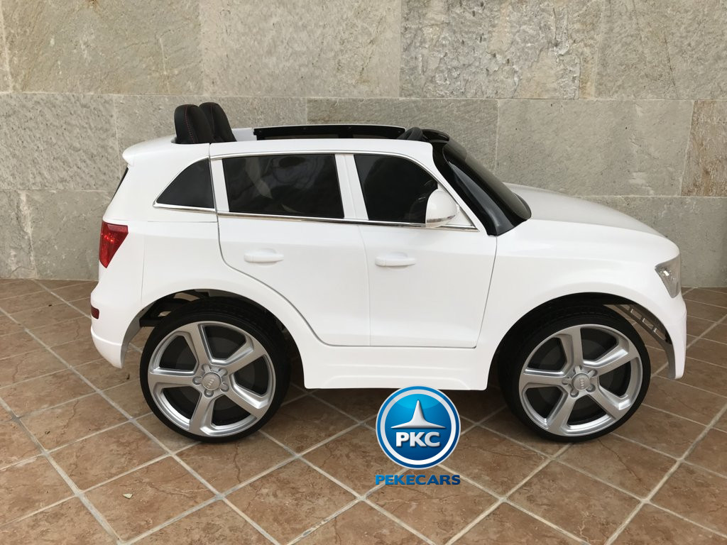 Coche electrico para niños Audi Q5 Blanco vista lateral