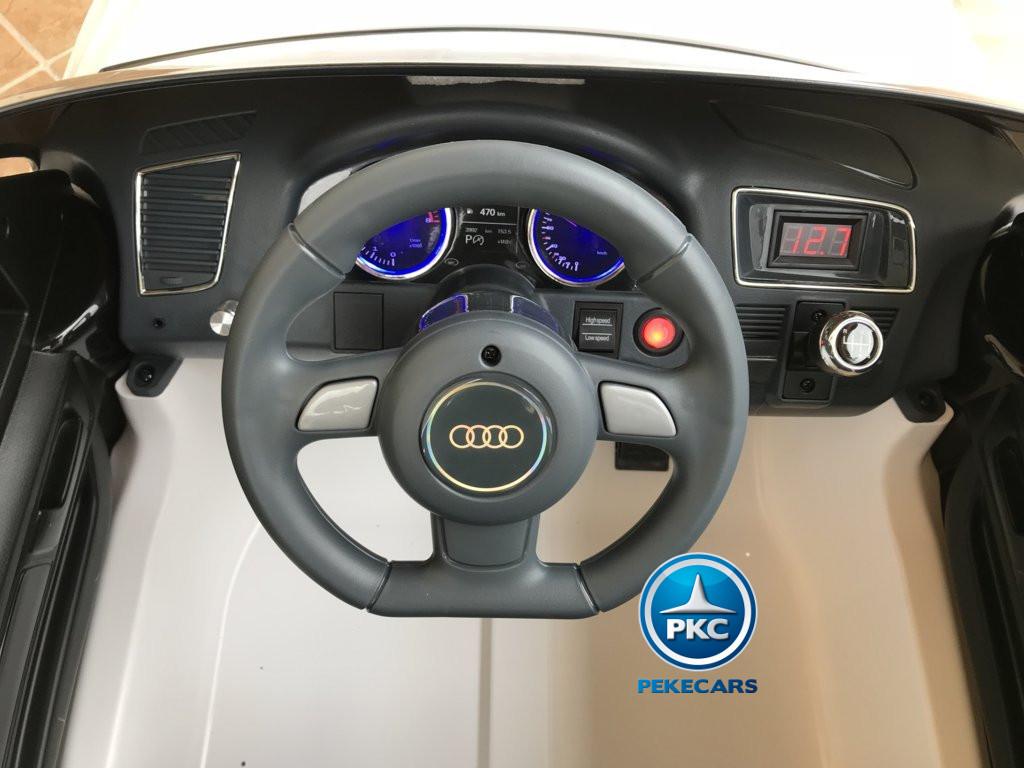 Coche electrico infantil Audi Q5 12V Blanco volante con sonidos