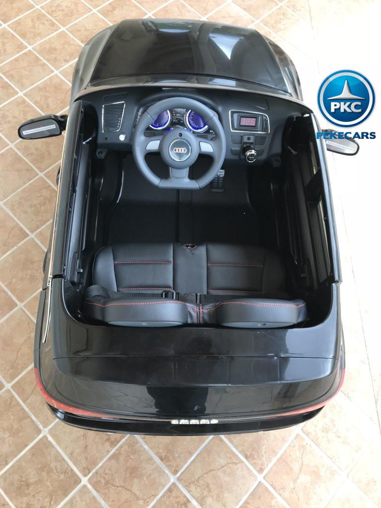 Coche electrico para niños Audi Q5 Negro metalizado vista del interior