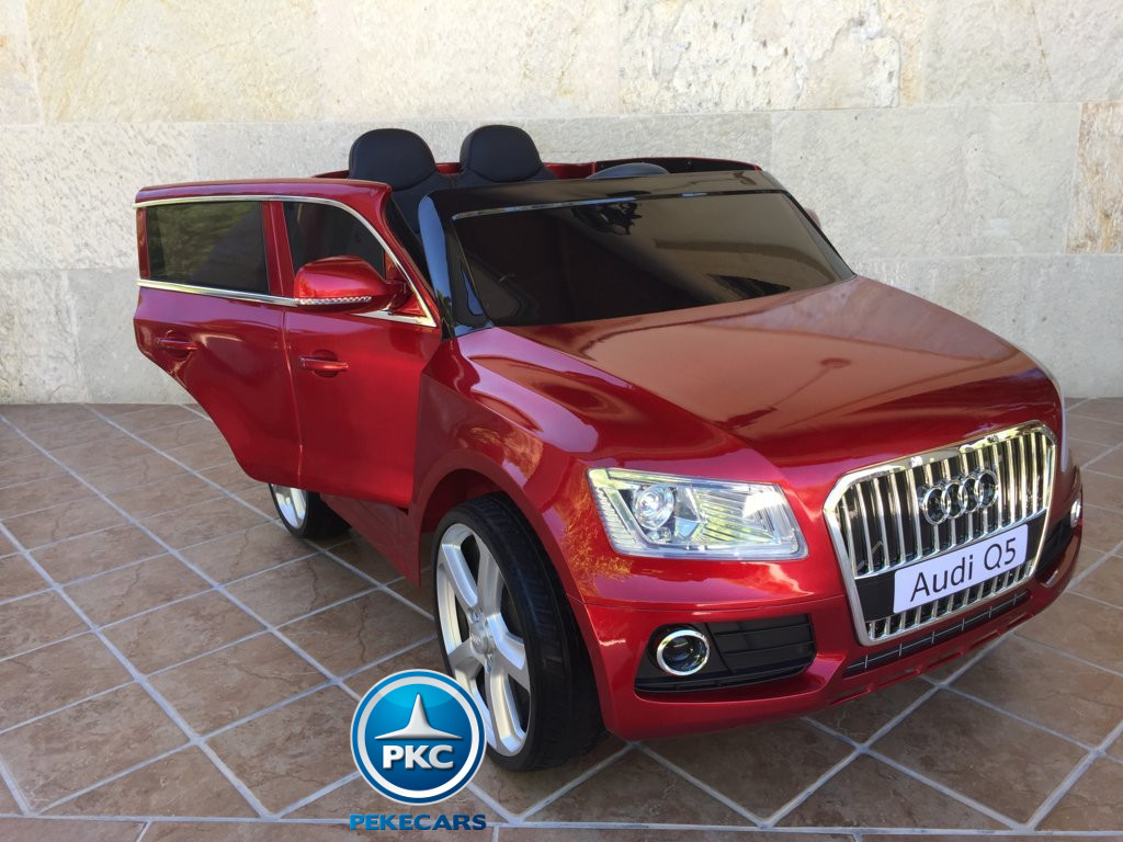Coche electrico para niños Audi Q5 Rojo metalizado vista lateral