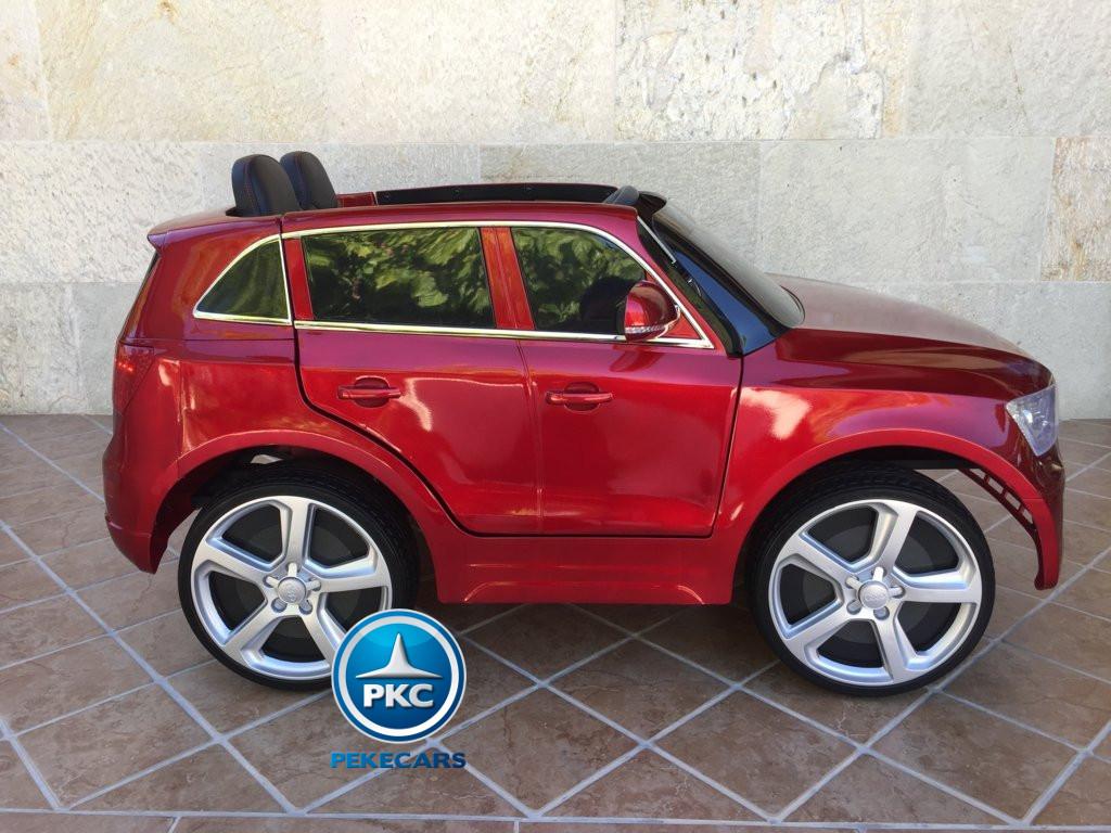 Coche electrico para niños Audi Q5 Rojo metalizado boton de arranque