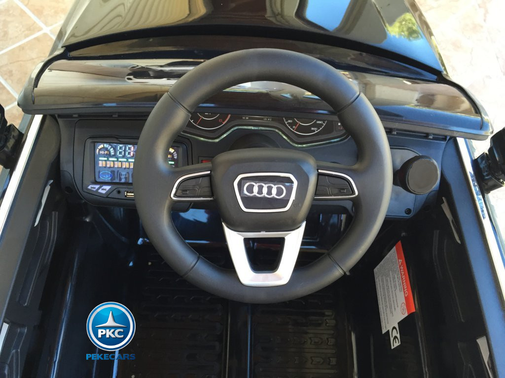 Coche electrico para niños Audi Q7 Facelift Negro volante con claxon y musica