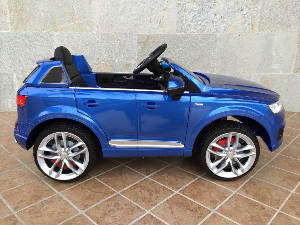 Coche electrico para niños Audi Q7 Facelift AzulMetalizado visto de lado