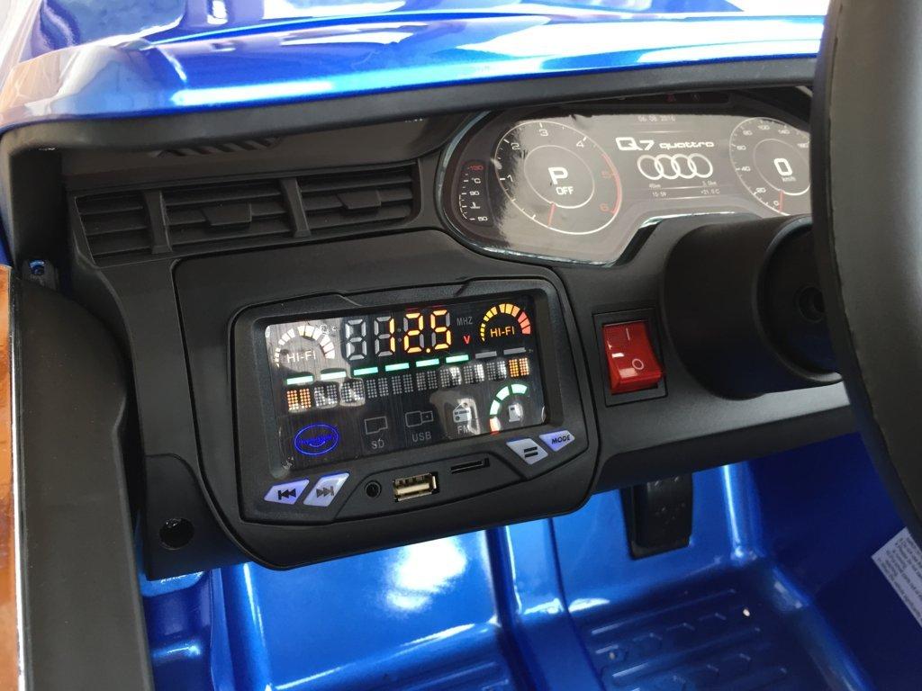 Coche electrico para niños Audi Q7 Facelift Azul Metalizado con radio FM