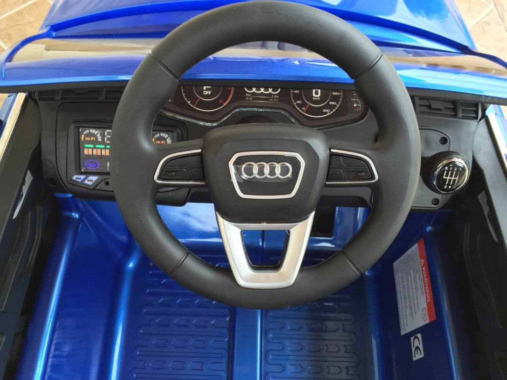 Coche electrico infantil Audi Q7 Facelift Azul Metalizado volante con claxon y musica