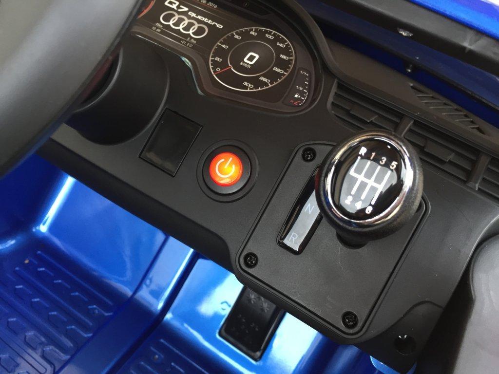 Coche electrico para niños Audi Q7 Facelift Azul Metalizado con boton de arranque