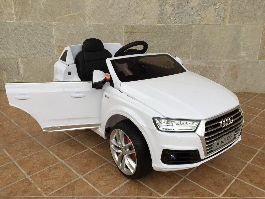 Coche electrico para niños Audi Q7 Facelift Blanco con apertura de puertas
