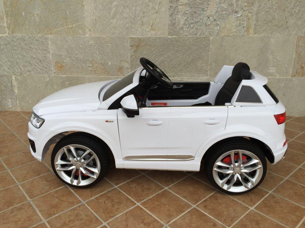 Coche electrico infantil Audi Q7 Facelift Blanco vista de lado