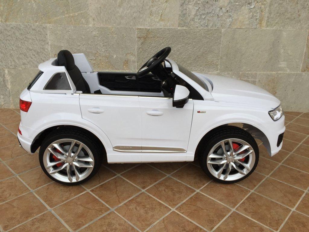 Coche electrico infantil Audi Q7 Facelift Blanco vista lateras