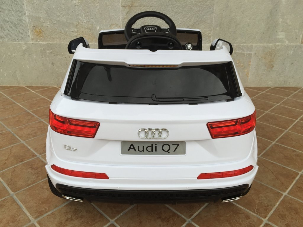 Coche electrico infantil Audi Q7 Facelift Blanco vista trasera