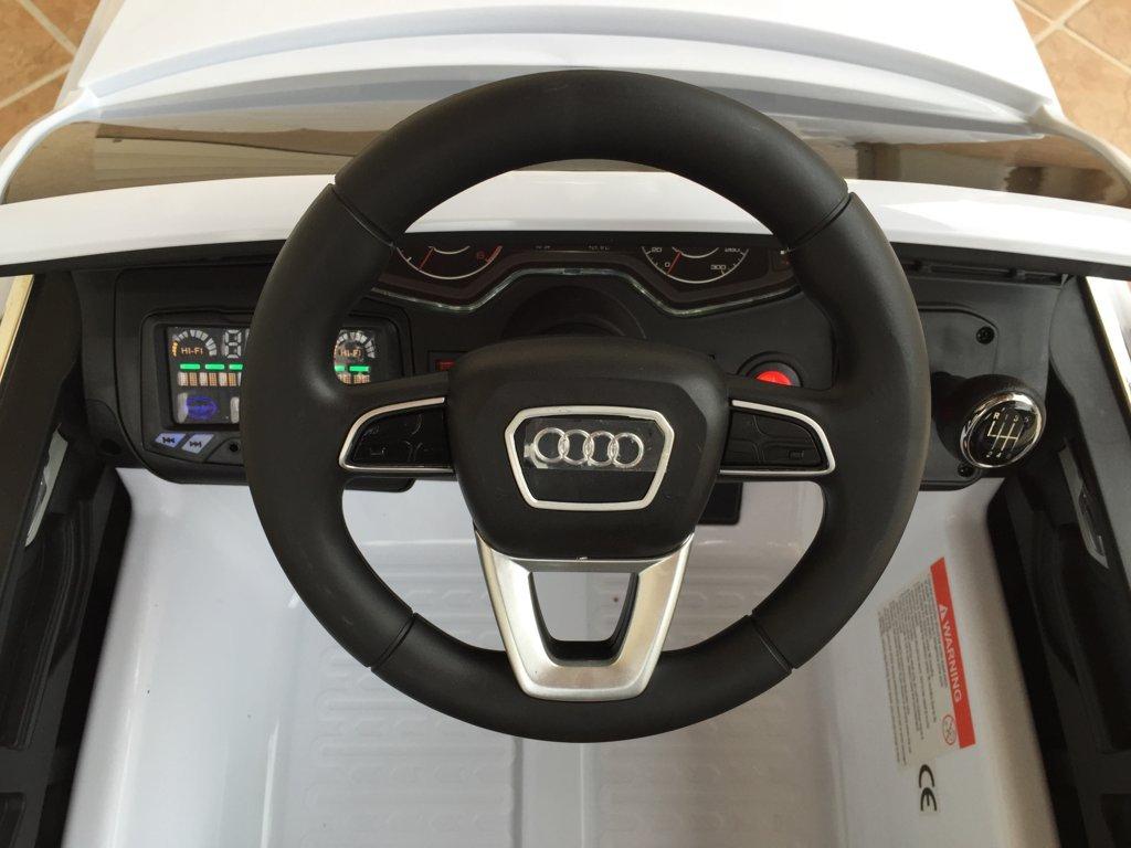 Coche electrico infantil Audi Q7 Facelift Blanco volante con claxon y musica