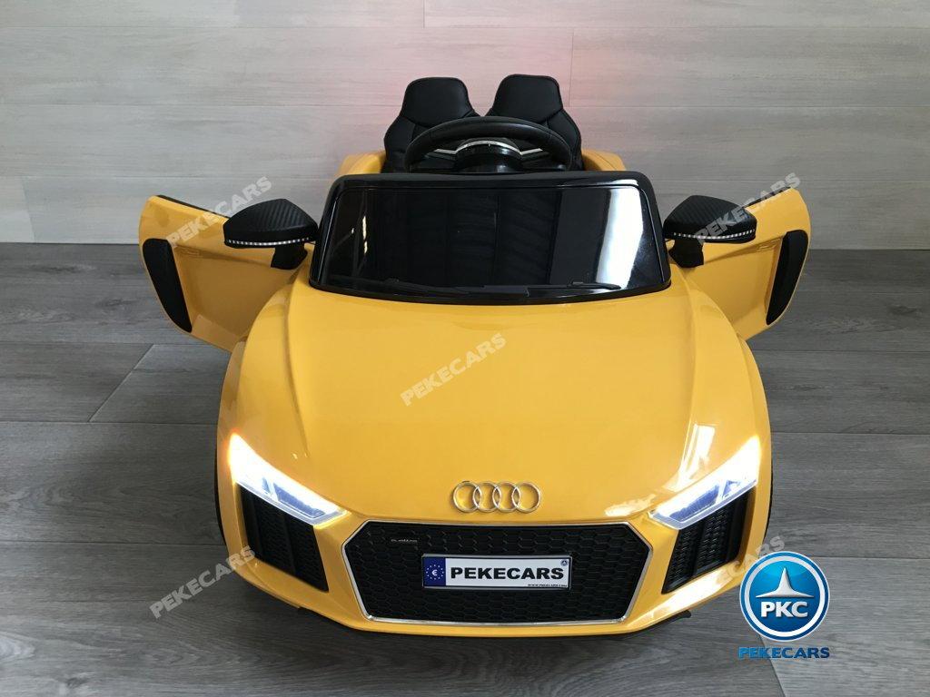 Coche electrico infantil Audi Little R8 Spyder Amarillo con apertura de puertas