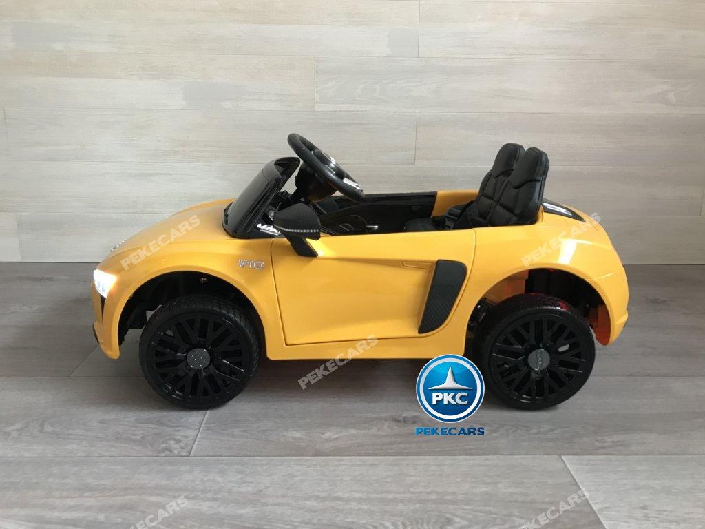 Coche electrico infantil Audi Little R8 Spyder Amarillo vista lateral