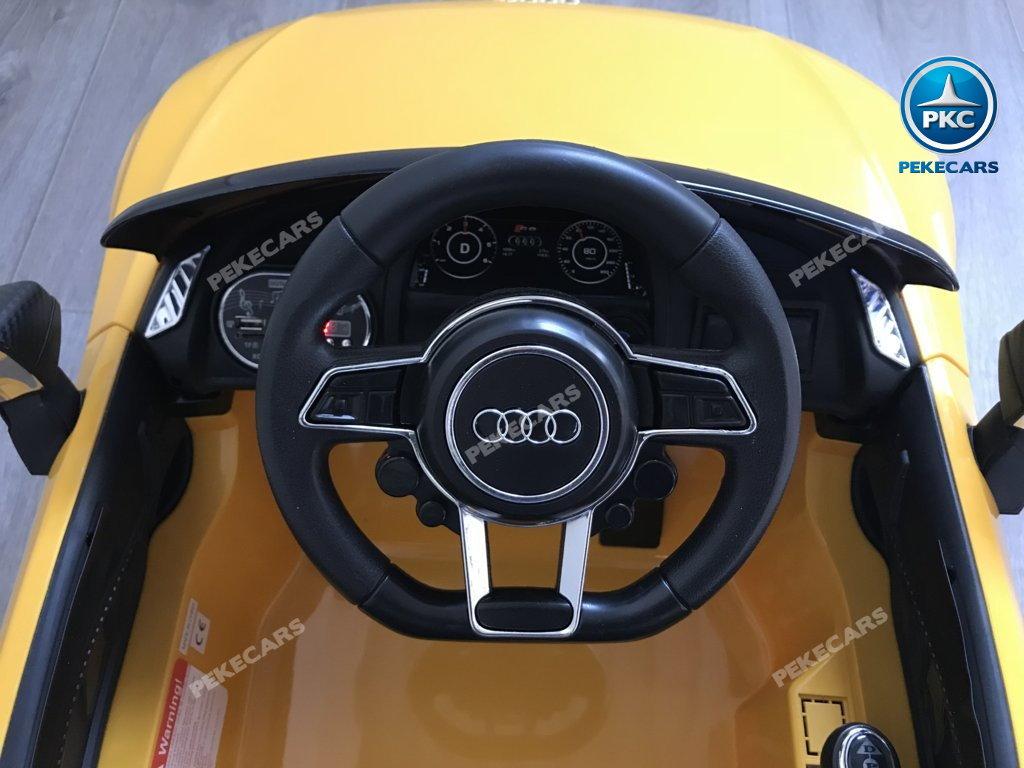 Coche electrico para niños Audi Little R8 Spyder Amarillo volante con claxon y musica