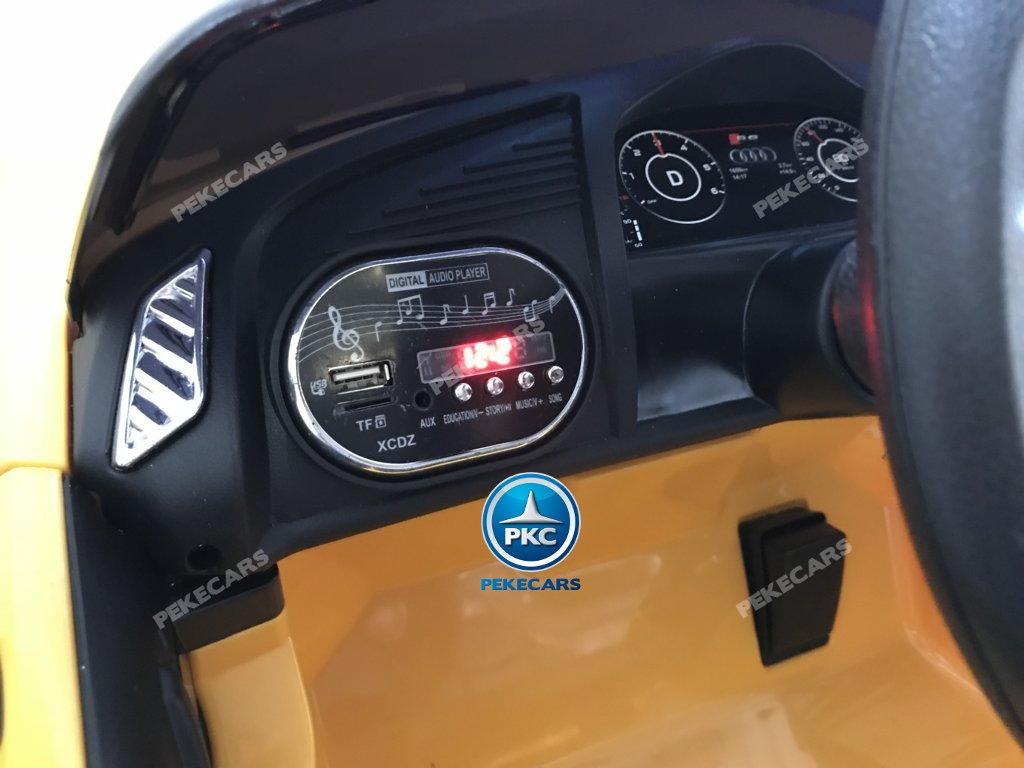 Coche electrico infantil Audi Little R8 Spyder Amarillo con voltimetro digital