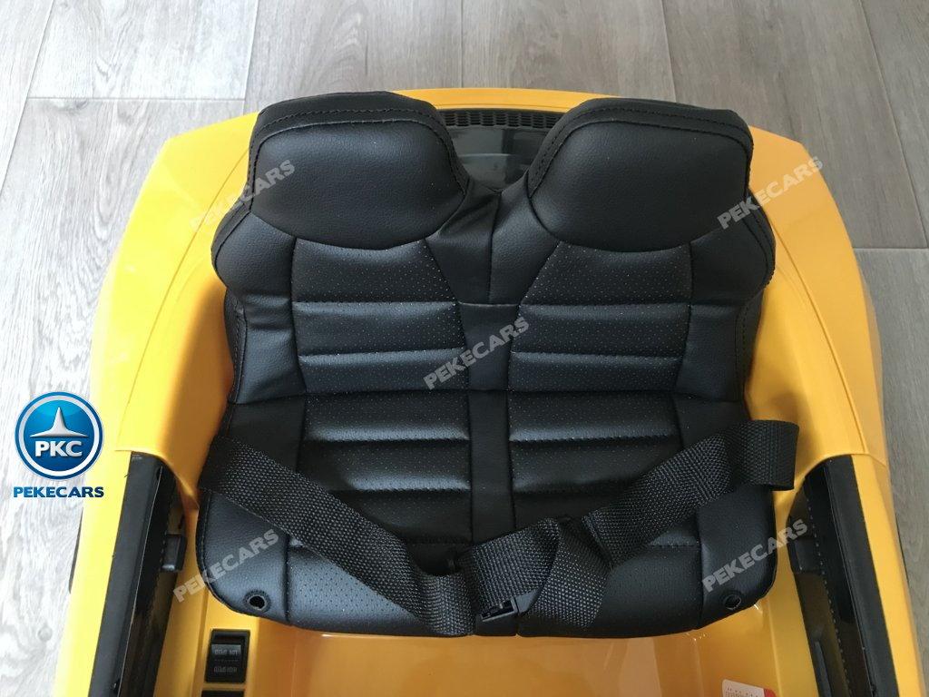Coche electrico para niños Audi Little R8 Spyder Amarillo asiento acolchado en piel