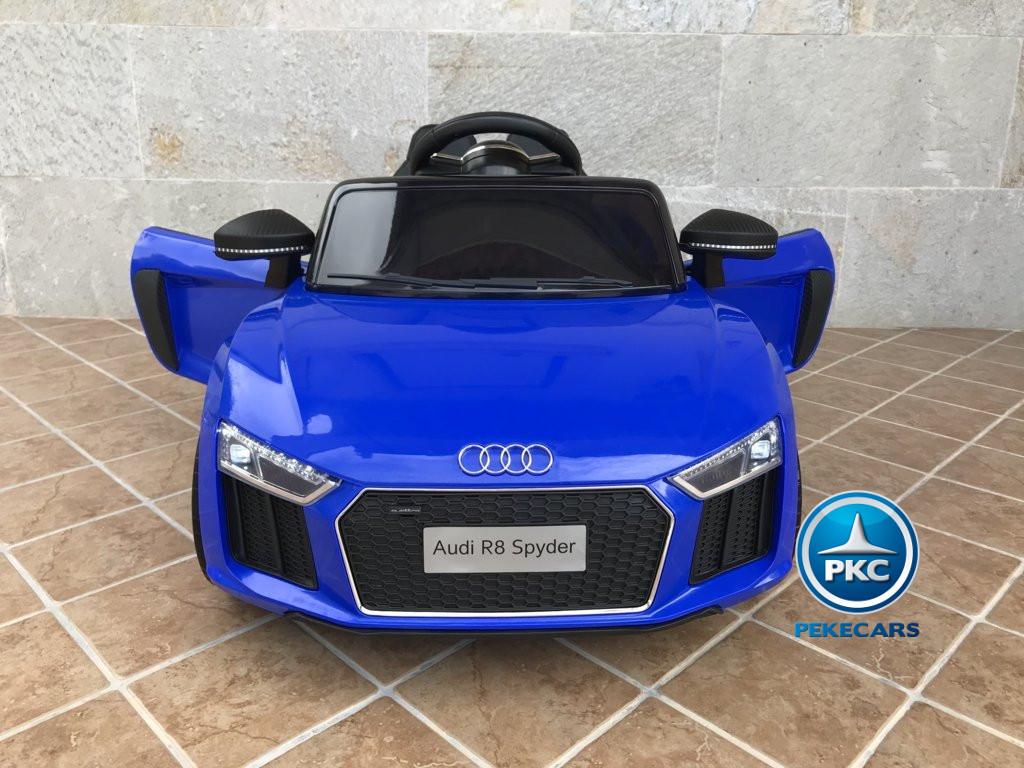 Coche electrico infantil Audi Little R8 Spyder Azul con apertura de puertas