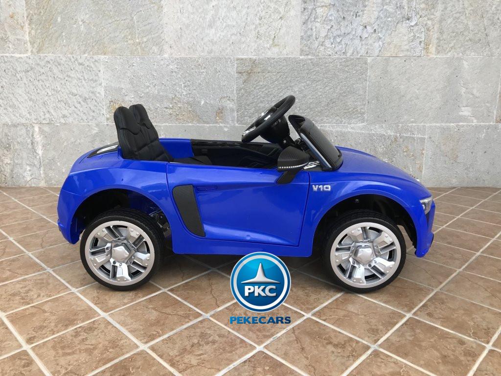 Coche electrico infantil Audi Little R8 Spyder Azul visto de lado