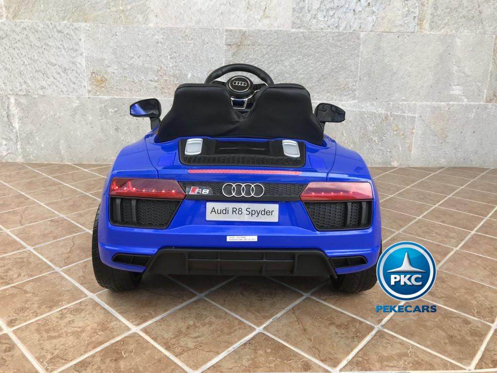 Coche electrico para niños Audi Little R8 Spyder Azul vista trasera