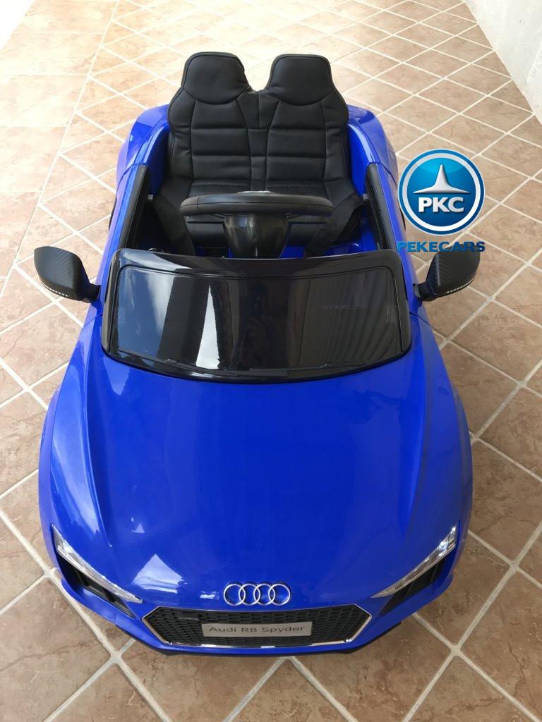 Coche electrico infantil Audi Little R8 Spyder Azul vista aerea
