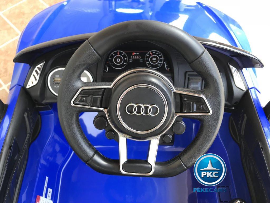 Coche electrico para niños Audi Little R8 Spyder Azul volante con claxon y musica