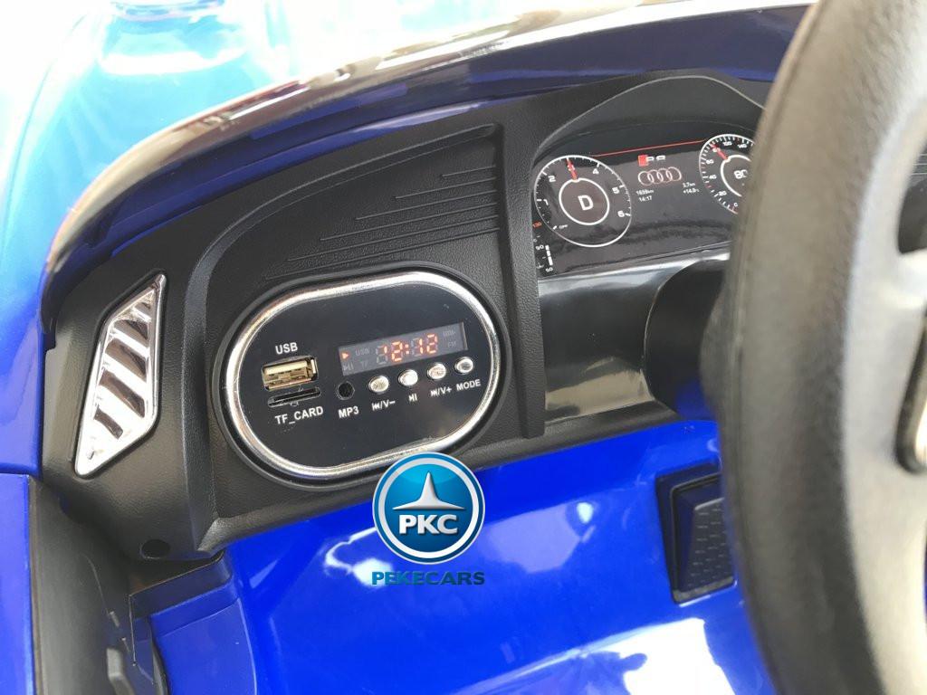 Coche electrico infantil Audi Little R8 Spyder Azul con conexion USB