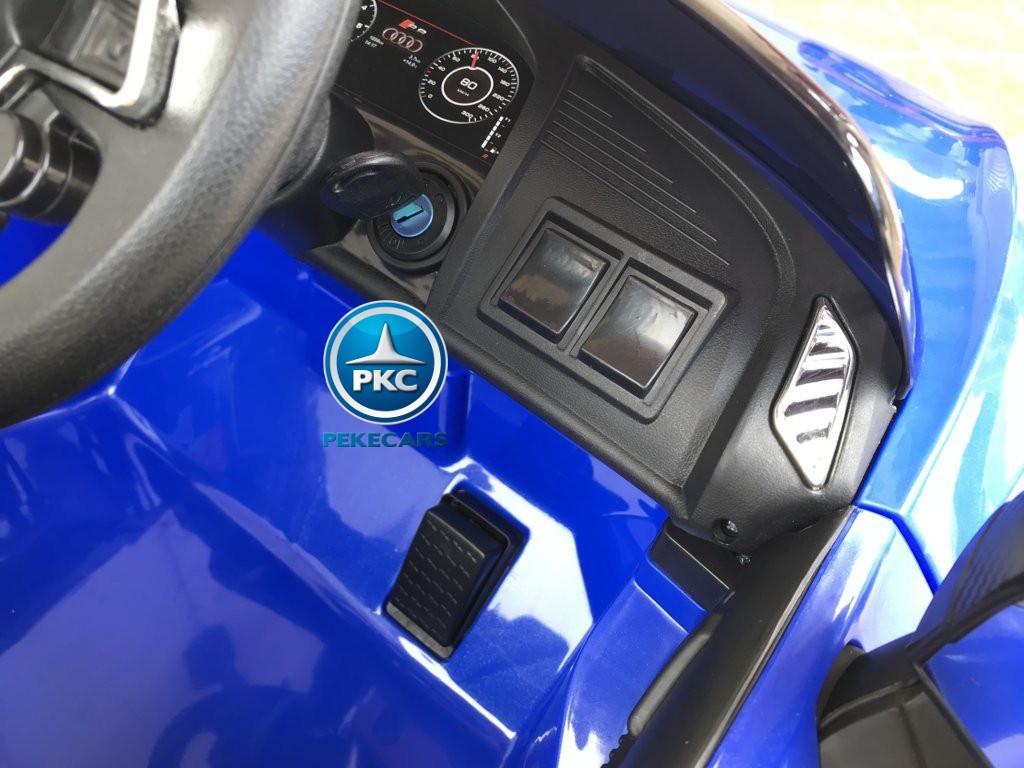 Coche electrico para niños Audi Little R8 Spyder Azul con llave de arranque