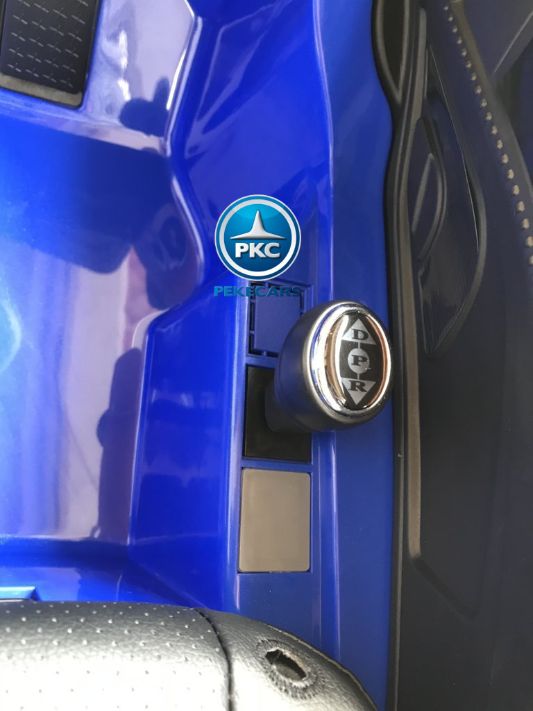 Coche electrico infantil Audi Little R8 Spyder Azul palanca de cambio de marcha