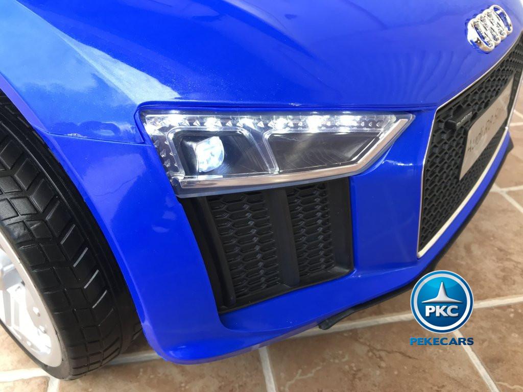 Coche electrico para niños Audi Little R8 Spyder Azul luces led delanteras
