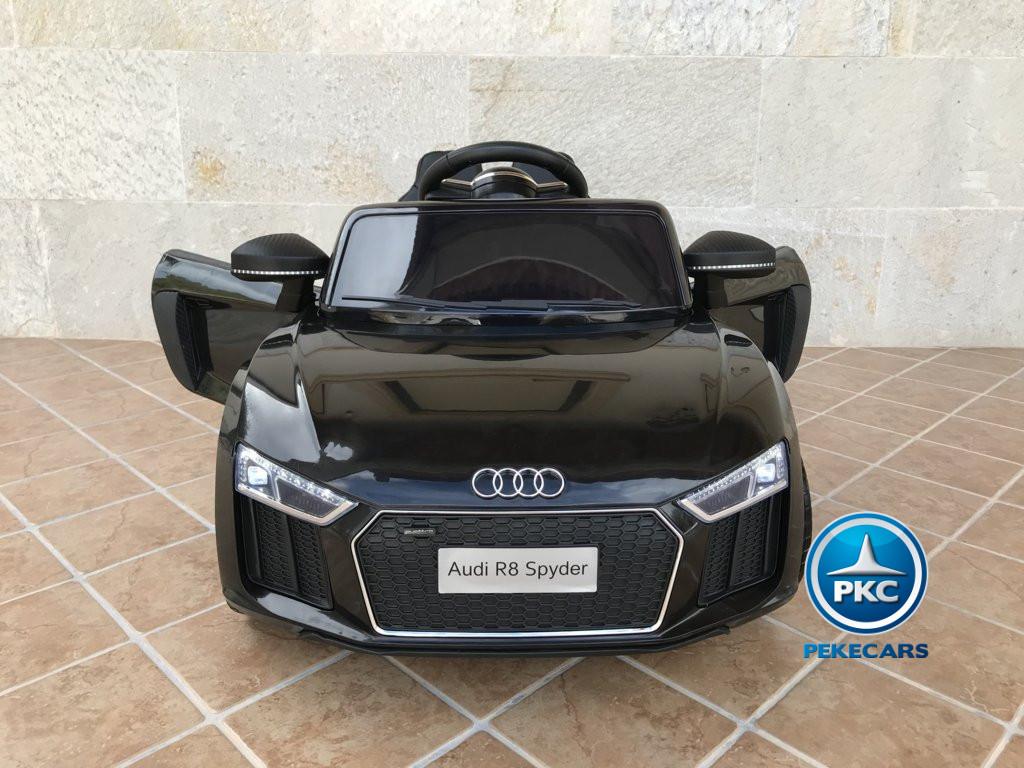 Coche electrico infantil Audi Little R8 Spyder Negro con vista frontal