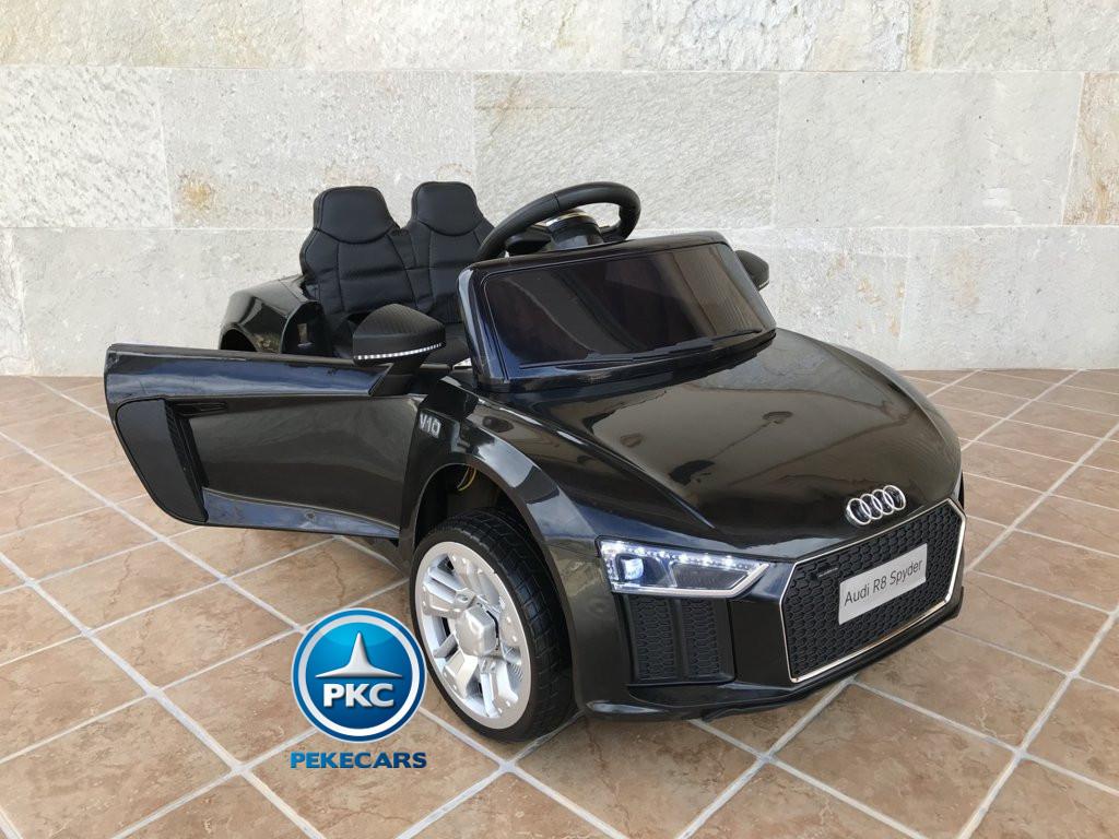 Coche electrico para niños Audi Little R8 Spyder Negro con apertura de puertas