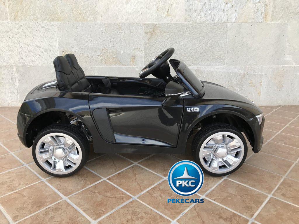 Coche electrico infantil Audi Little R8 Spyder Negro visto de lado