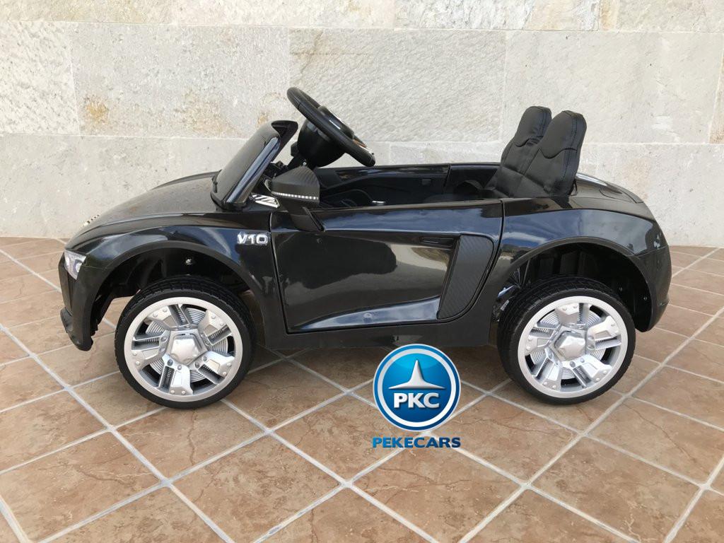 Coche electrico infantil Audi Little R8 Spyder Negro vista lateral