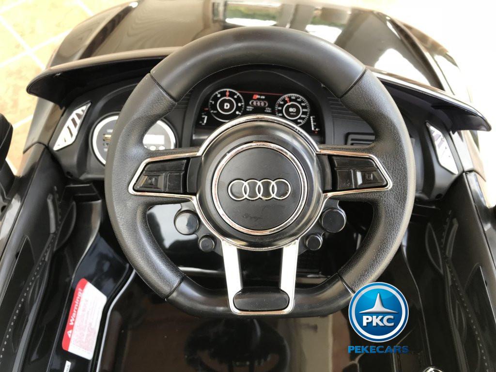 Coche electrico para niños Audi Little R8 Spyder Negro volante con claxon y musica