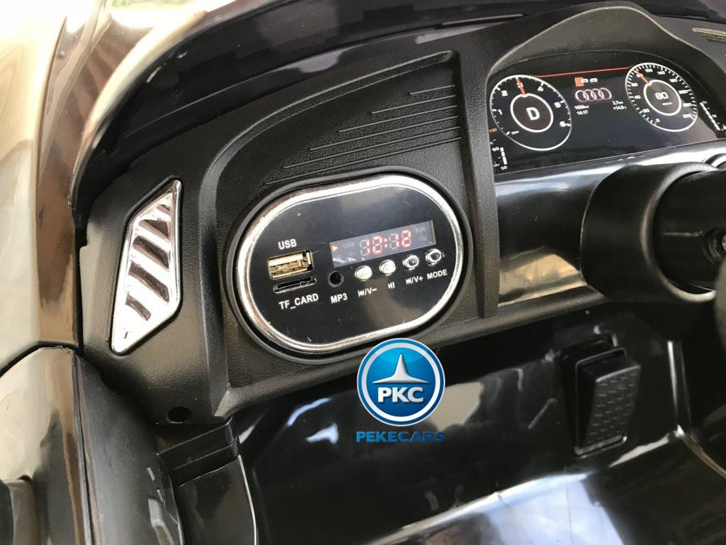 Coche electrico infantil Audi Little R8 Spyder Negro con voltimetro digital