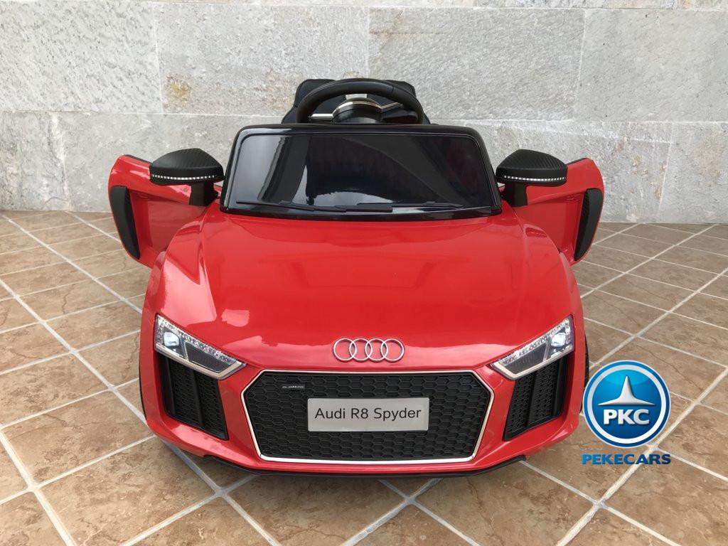 Coche electrico infantil Audi Little R8 Spyder Rojo con vista frontal