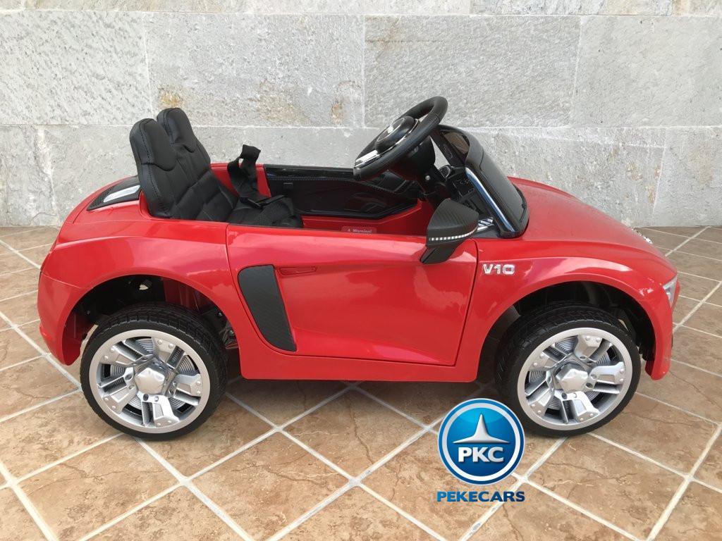 Coche electrico infantil Audi Little R8 Spyder Rojo visto de lado