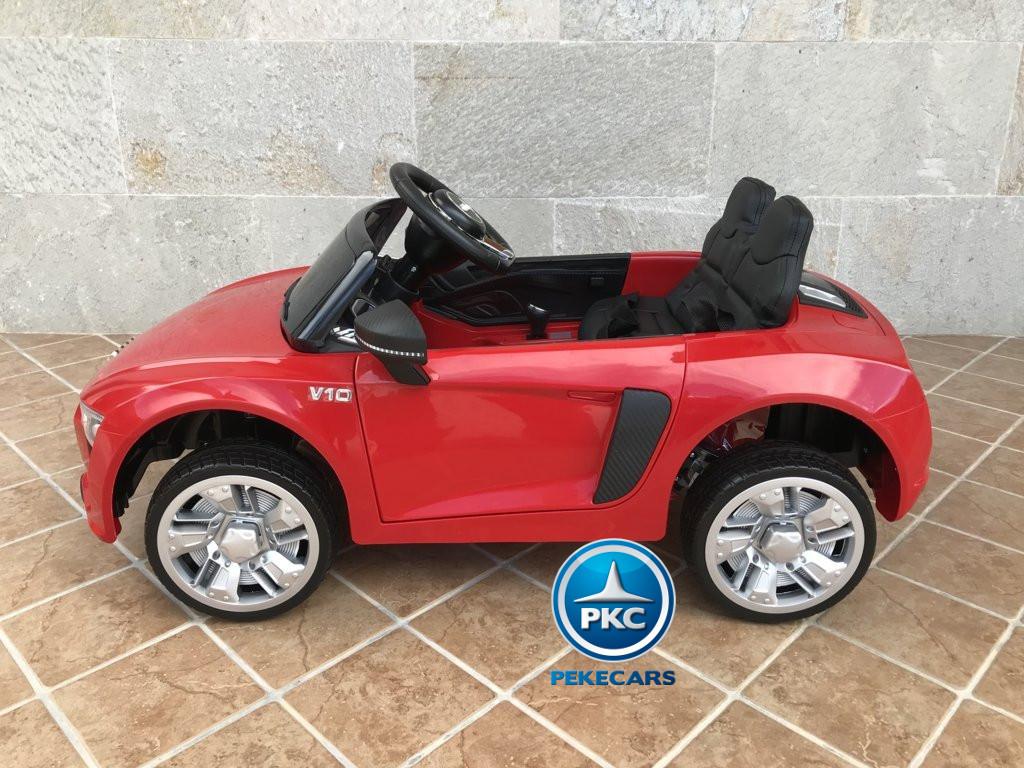 Coche electrico infantil Audi Little R8 Spyder Rojo vista lateral