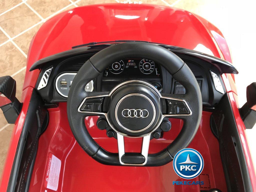 Coche electrico para niños Audi Little R8 Spyder Rojo volante con claxon y musica