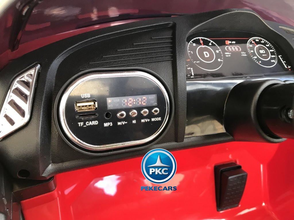 Coche electrico infantil Audi Little R8 Spyder Rojo con voltimetro digital